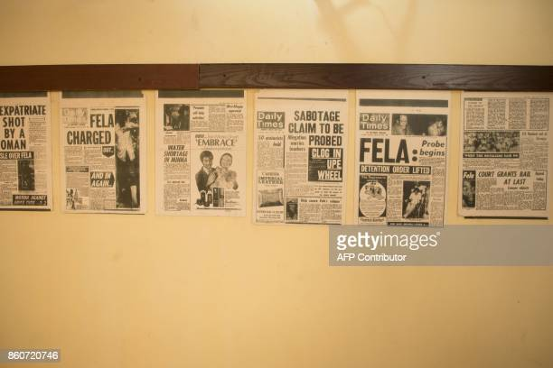 Newspapers clipping referring to the pioneer of the Afrobeat music genre Fela Anikulapo Kuti are on display at The Kalakuta Museum in Lagos on...