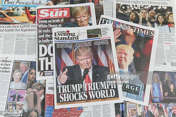 UK newspapers The Sun The Times and The Evening Standard feature Donald Trump's victory in the US Presidential elections on their front pages on...