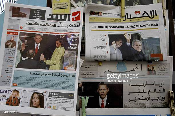 Newspapers with headlines of the inauguration of Barack Obama as the US President are seen at a newsstand in Beirut on January 21 2009 The world...