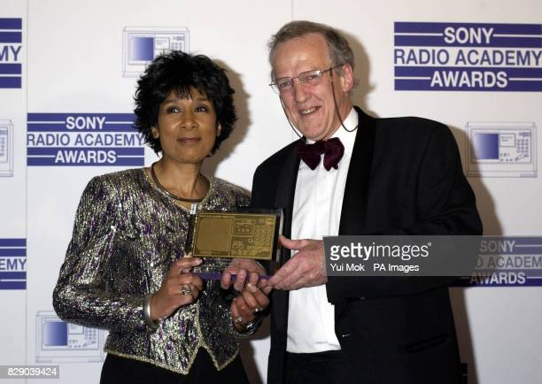 Newsreader Moira Stuart presents Hugh Sykes with The News Journalist of the Year for BBC Radio News The World at One and PM BBC Radio 4 during the...