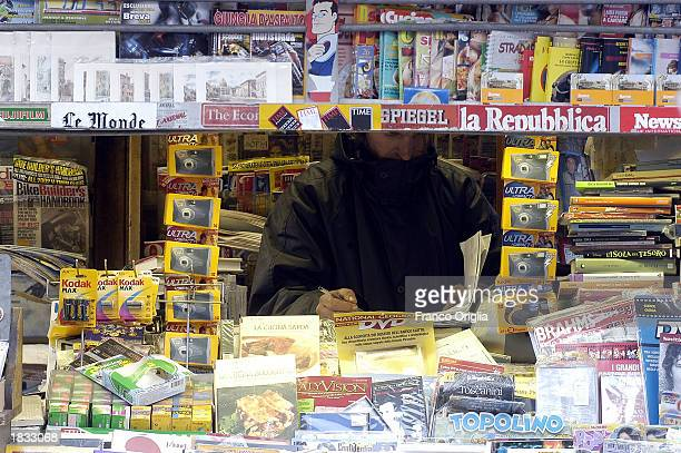 A newsstand at Navona Square is shown March 6 2003 in Rome Italy