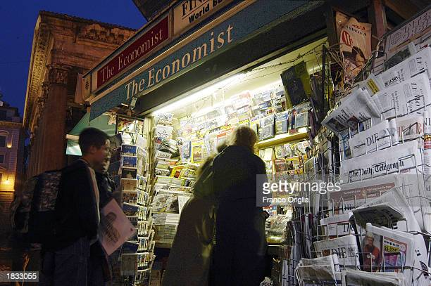 A newsstand at Pantheon Square is shown March 6 2003 in Rome Italy