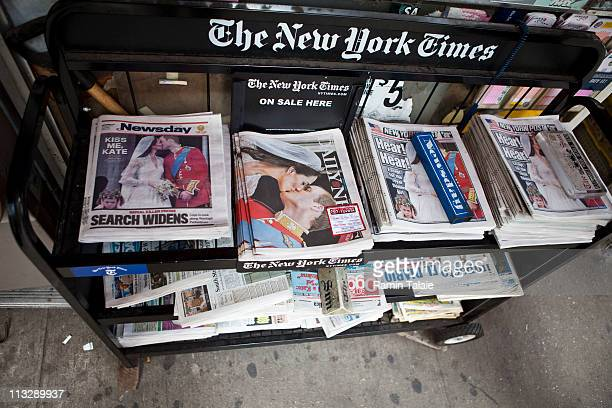 A newsstand displays newspapers with images of the royal wedding of TRH Prince William Duke of Cambridge and Catherine Duchess of Cambridge on April...