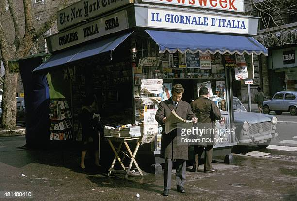 Newsstand in March 1965 in Rome Italy