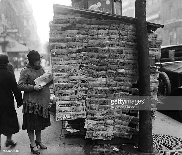 Newsstand with newspapers from all over the world in 1927 in Paris France