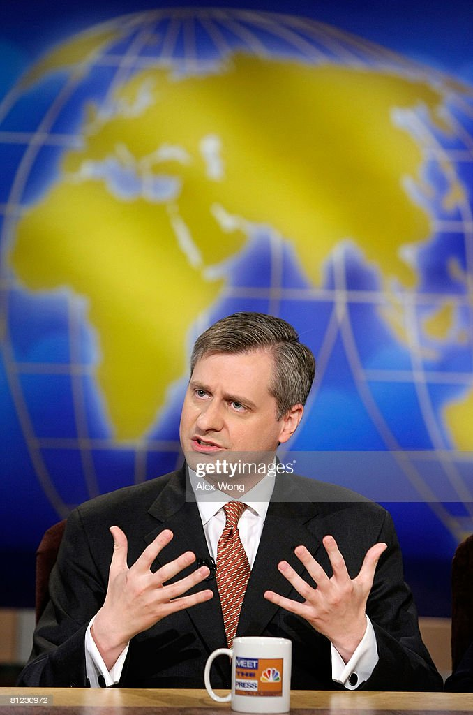 Newsweek Editor Jon Meacham speaks during a taping of 'Meet the Press' at the NBC studios May 25, 2008 in Washington, DC. Meacham discussed topics related to the presidential election in November, 2008.