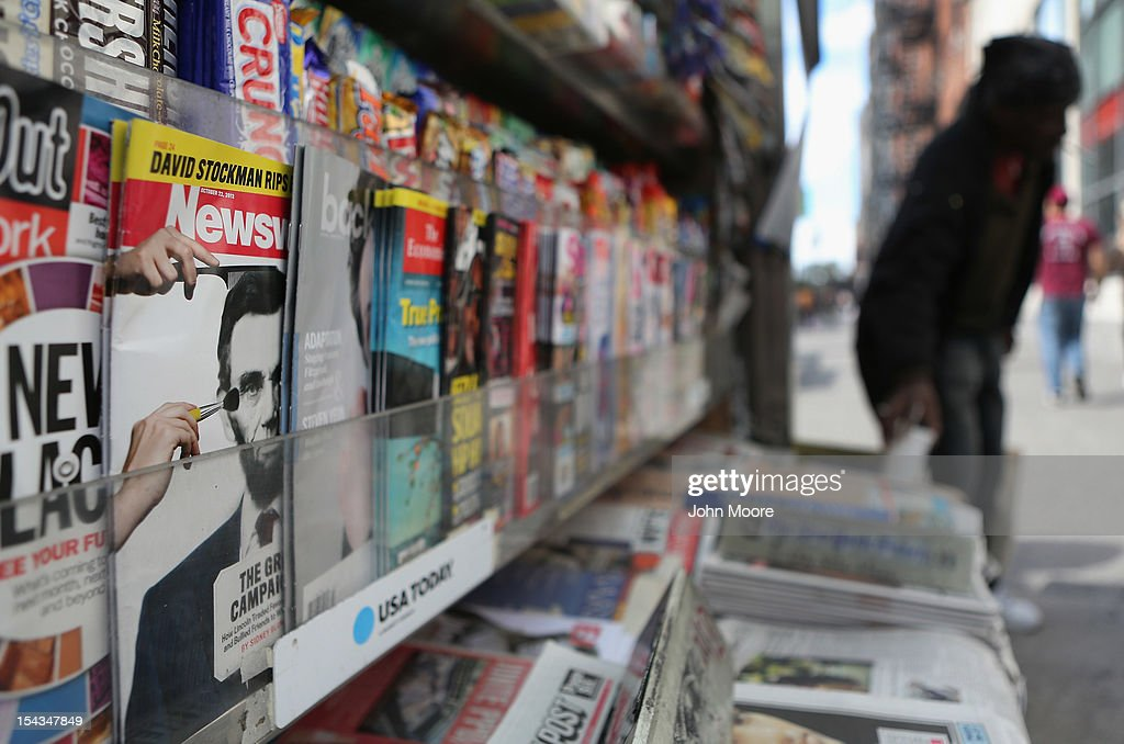 Newsweek Magazine sits for sale at a news stand on October 18, 2012 in New York City. Tina Brown, editor-in-chief of The Newsweek Daily Beast Co, announced today that the 80-year-old news magazine will publish its final print edition on December 31 and shift to an all-digital format in early 2013. Staff layoffs are expected.