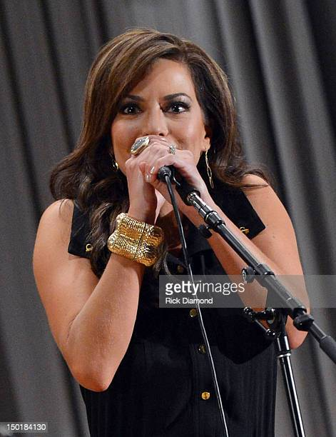 Newswomen/Singer/Songwriter Robin Meade performs during the Craig Morgan 6th annual charity concert at Dickson Middle School on August 11 2012 in...