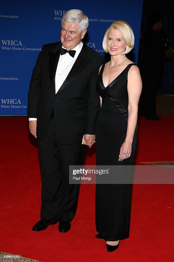 <a gi-track='captionPersonalityLinkClicked' href=/galleries/search?phrase=Newt+Gingrich&family=editorial&specificpeople=202915 ng-click='$event.stopPropagation()'>Newt Gingrich</a> (L) and <a gi-track='captionPersonalityLinkClicked' href=/galleries/search?phrase=Callista+Gingrich&family=editorial&specificpeople=4374496 ng-click='$event.stopPropagation()'>Callista Gingrich</a> attend the 102nd White House Correspondents' Association Dinner on April 30, 2016 in Washington, DC.