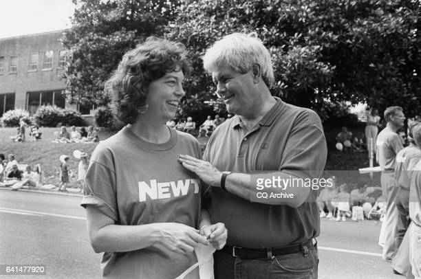 Newt Gingrich and wife Marianne at July 4th parade in Marietta Ga April 6 1992