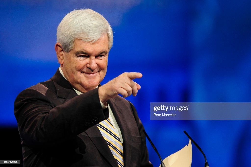 <a gi-track='captionPersonalityLinkClicked' href=/galleries/search?phrase=Newt+Gingrich&family=editorial&specificpeople=202915 ng-click='$event.stopPropagation()'>Newt Gingrich</a>, former presidential candidate and Speaker of the U.S. House of Representatives, speaks at the 2013 Conservative Political Action Conference (CPAC) March 16, 2013 in National Harbor, Maryland. The American Conservative Union held its annual conference in the suburb of Washington, DC to rally conservatives and generate ideas.