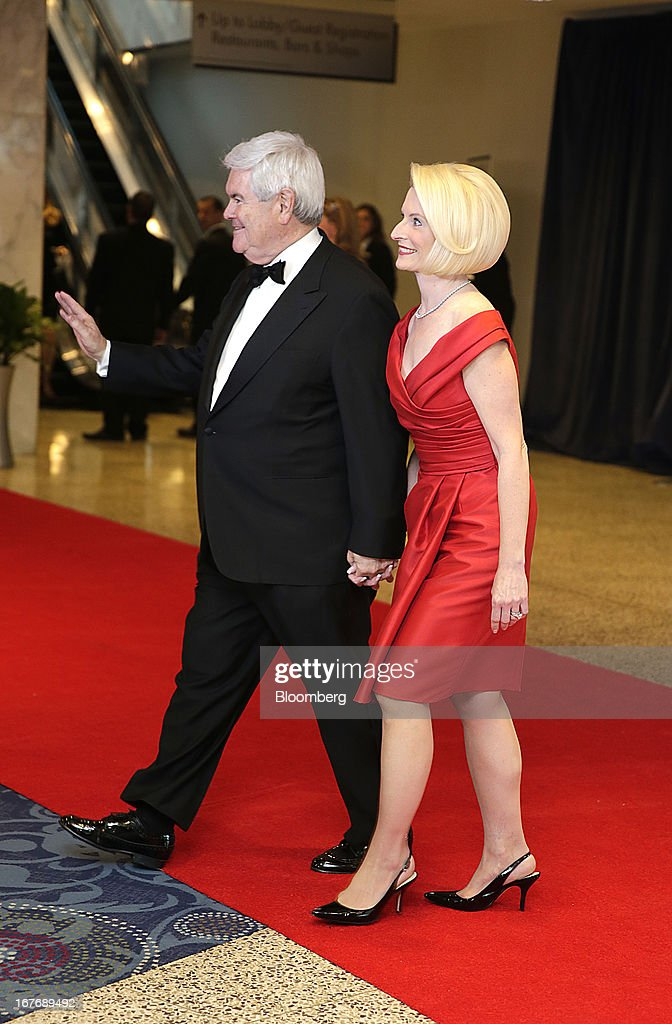 Newt Gingrich, former Speaker of the U.S. House of Representatives, and wife Calista Gingrich arrive for the White House Correspondents' Association (WHCA) dinner in Washington, D.C., U.S., on Saturday, April 27, 2013. The 99th annual dinner raises money for WHCA scholarships and honors the recipients of the organization's journalism awards. Photographer: Scott Eells/Bloomberg via Getty Images