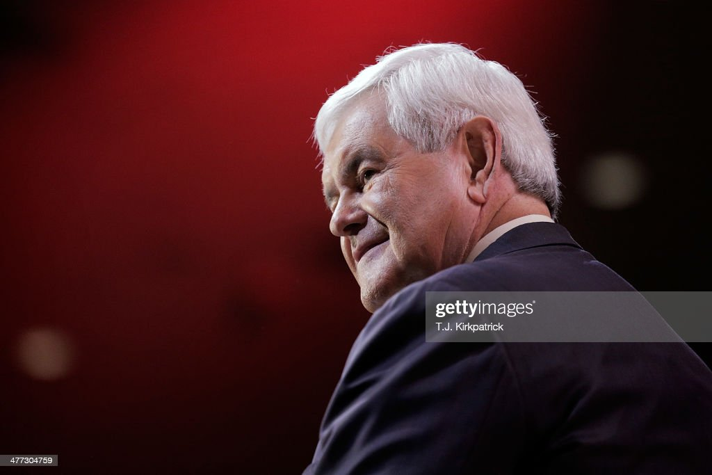 Newt Gingrich former speaker of the US House of Representatives speaks during the 41st annual Conservative Political Action Conference at the Gaylord...