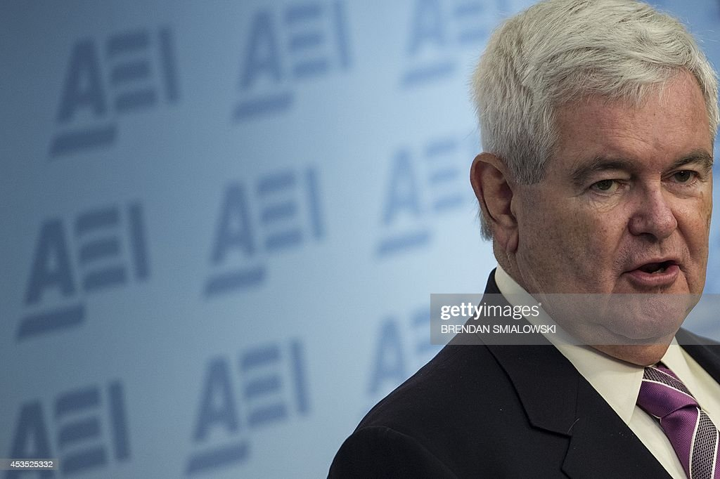 Newt Gingrich speaks during a presentation at the American Enterprise Institute August 12, 2014 in Washington, DC. Gingrich, a former Speaker of the US House of Representatives, spoke about the role of technology in reforming the US Veterans Affairs's bureaucracy. AFP PHOTO/Brendan SMIALOWSKI