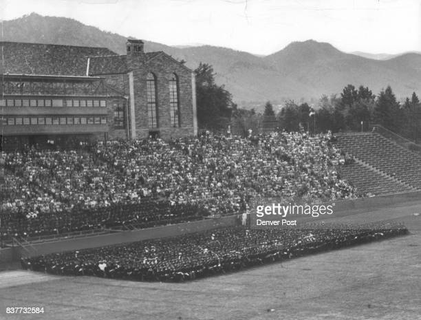 Newton Addresses Graduates And Guests At University of Colorado An estimated 6000 relatives and friends occupy the west stands of Folsom Field as CU...