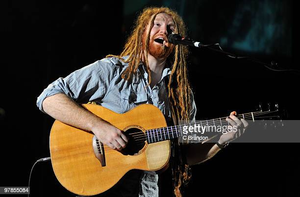 Newton Faulkner performs on stage at Hammersmith Apollo on March 17 2010 in London England