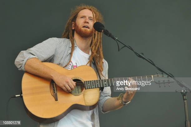 Newton Faulkner performs on stage during the final day of The Big Chill Festival 2010 at Eastnor Castle Deer Park on August 8 2010 in Ledbury United...
