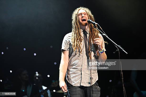 Newton Faulkner performs on stage in aid of the Sunflower Jam charity supporting the integration of conventional and complimentary therapy at Royal...