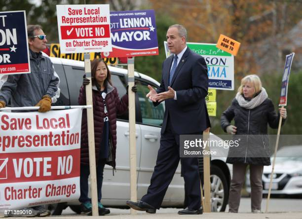 Newton Mayoral candidate Scott F Lennon speaks to supporters at a campaign stop in front of the Burr School in Newton Mass Nov 7 2017