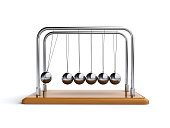 3d render of a newtons cradle on the white background