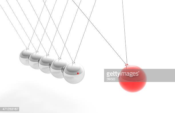 Newton's Cradle with Red Sphere, Individuality Concept (XXXL)