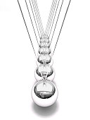 3D rendering of Newton's cradle (time pendulum) isolated on white