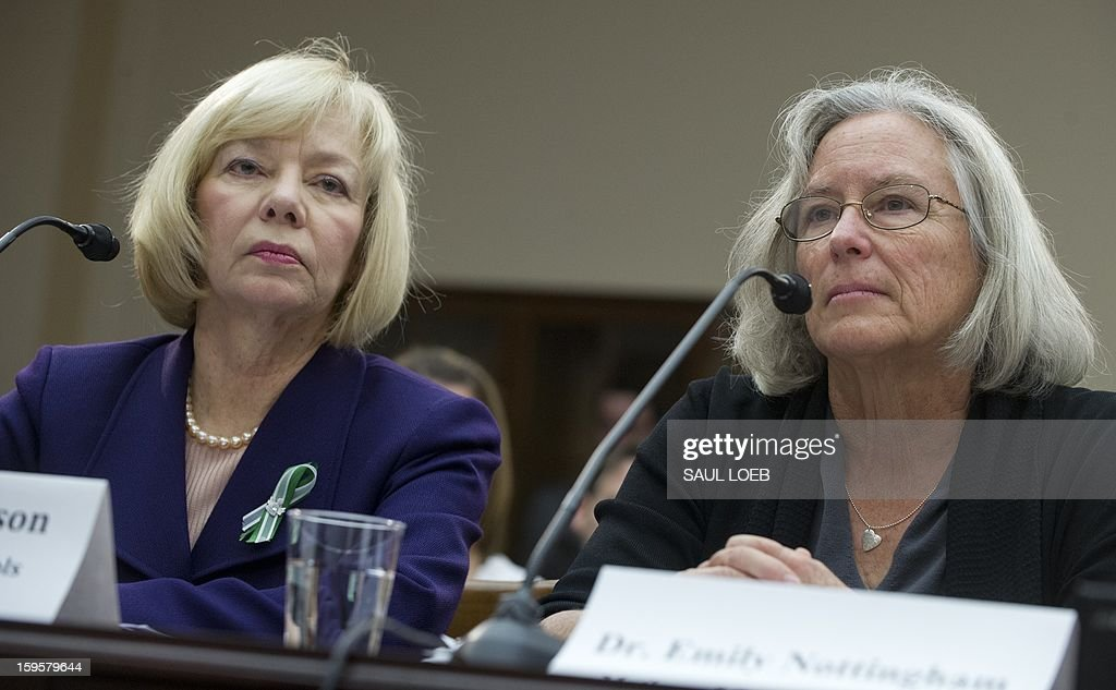 Newtown School Superintendent Janet Robinson (L) and Emily Nottingham (R), mother of Congressional staffer Gabe Zimmerman who was killed during the mass shooting attack on former US Representative Gabrielle Giffords, speak about gun violence during a meeting of the House Democratic Steering and Policy Committee on Capitol Hill in Washington, DC, on January 16, 2013. AFP PHOTO / Saul LOEB