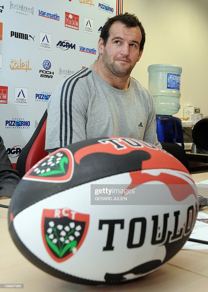 New-Zealand rugby union national team prop Carl Hayman attends a press conference on May 19, 2010 in Toulon, southern France. Hayman is to leave Newcastle at the end of the season to join Jonny Wilkinson, the England fly-half in the French Club of Toulon.