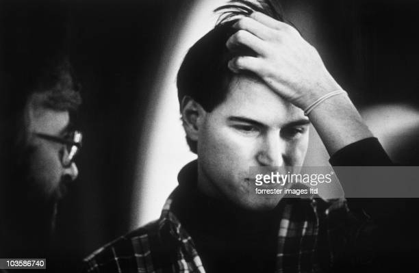 NeXT CEO Steve Jobs thinks during a NeXT offsite meeting in Palo Alto January 1987