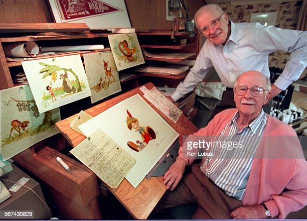 Next door neighbors Frank Thomas standing rear and Ollie Johnston pair of octogenarian Disney animators who worked on Pinocchio' and other classics...
