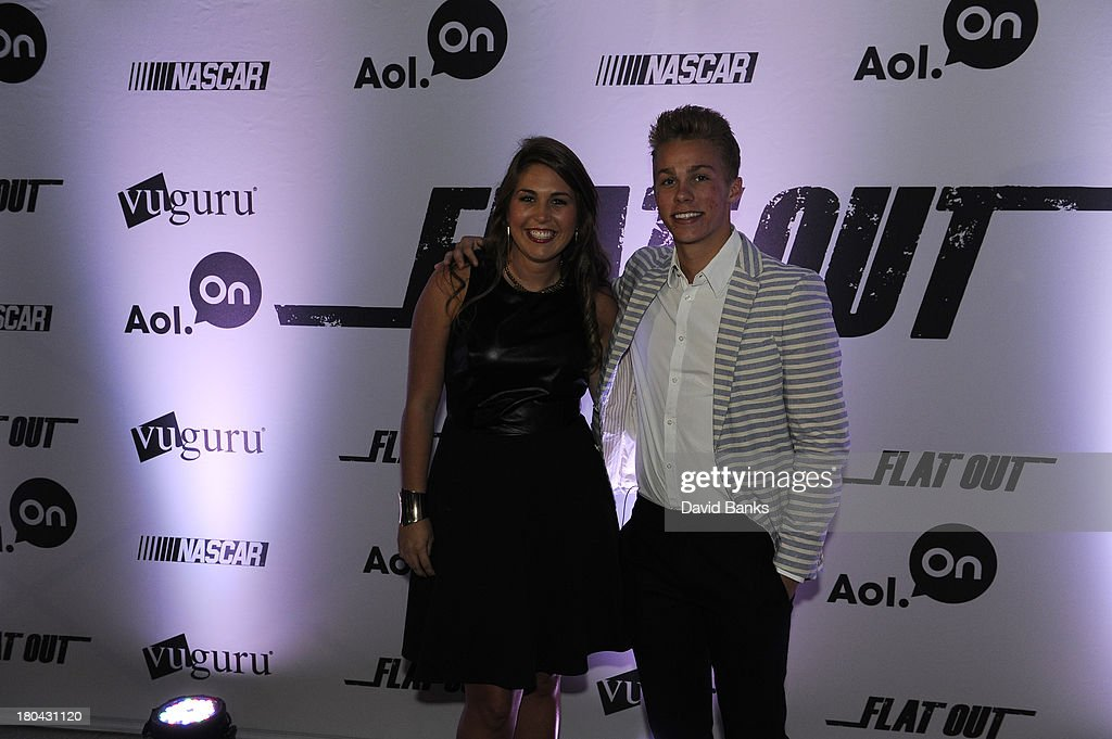 Next driver Dylan Kwasniewski and Johanna Long at the screening of Flat Out on September 12, 2013 in Chicago, Illinois.