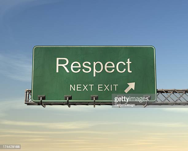 Next exit road sign for the town name Respect