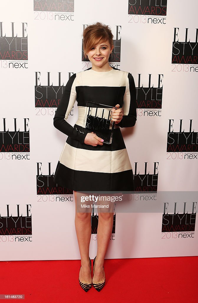 Next Future Icon winner Chloe Moretz poses in the press room at the Elle Style Awards at The Savoy Hotel on February 11, 2013 in London, England.