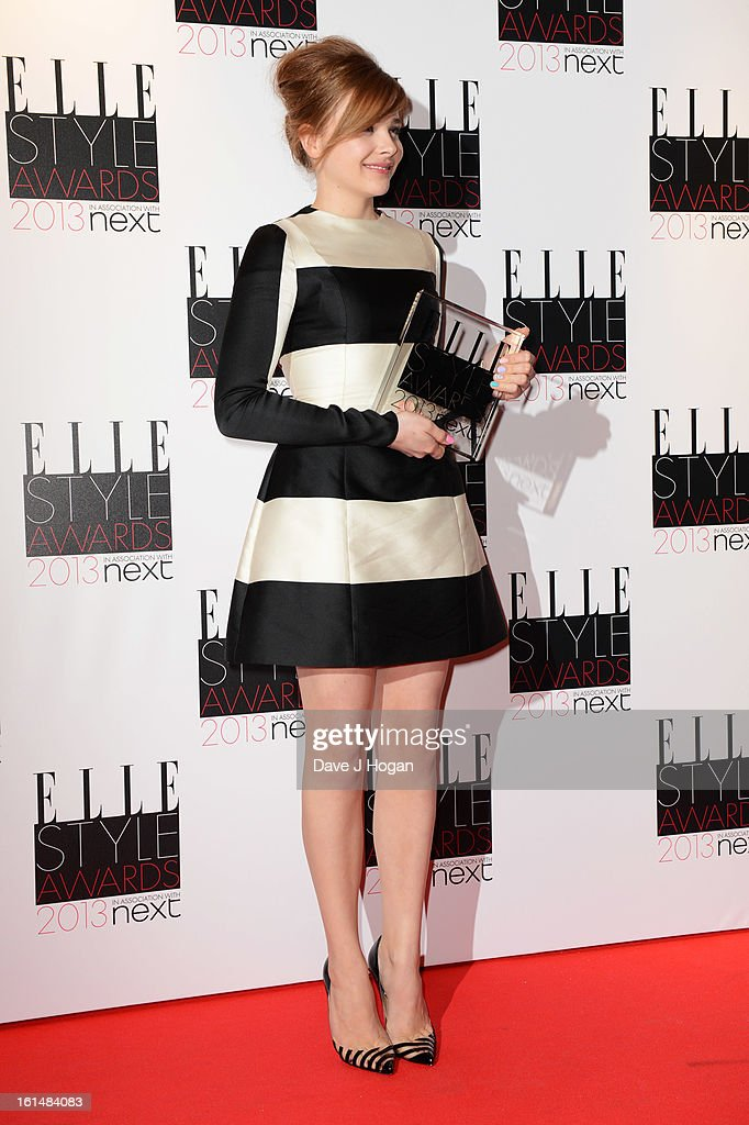 Next Future Icon winner Chloe Moretz poses in the press room at The Elle Style Awards 2013 at The Savoy Hotel on February 11, 2013 in London, England.