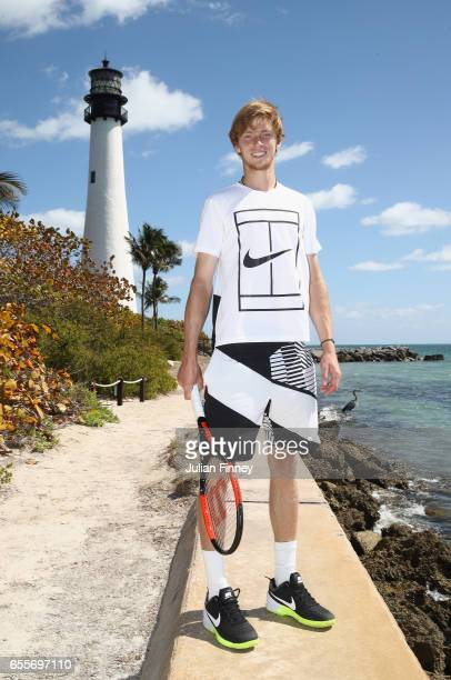 Next Gen Star Andrey Rublev of Russia poses for a photo in front of the Lighthouse at Cape Florida on March 20 2017 in Key Biscayne Florida