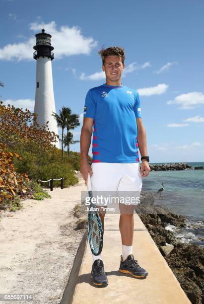 Next Gen Star Casper Ruud of Norway poses for a photo in front of the Lighthouse at Cape Florida on March 20 2017 in Key Biscayne Florida