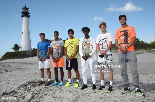 Next Gen Stars Casper Ruud of Norway Michael Mmoh of USA Hyeon Chung of South Korea Mikael Ymer of Sweden Andrey Rublev of Russia and Karen Khachanov...