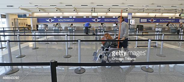 Next to no activity near the Southwest Airlines ticket counters at Chicago Midway International Airport on Thursday Oct 2 after the airline canceled...