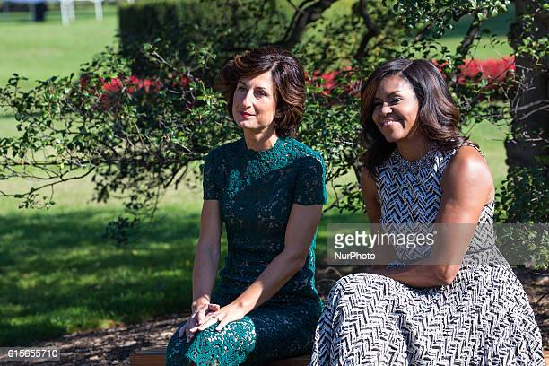 Next to the White House Kitchen Garden on the South Lawn in Washington DC USA on October 18 2016 Mrs Agnese Landini and First Lady Michelle Obama...