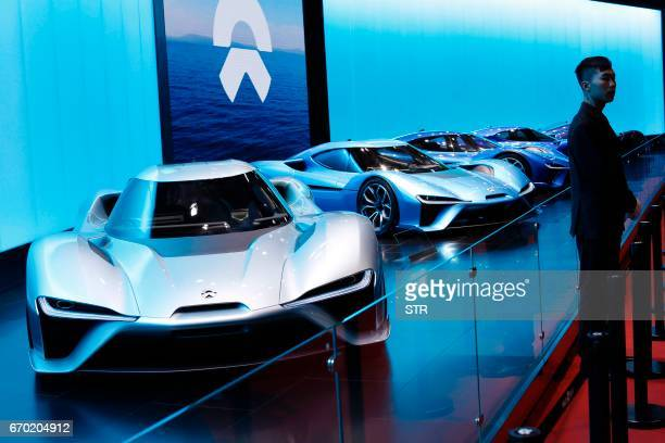 A NextEV EVE Concept car is displayed during the first day of the 17th Shanghai International Automobile Industry Exhibition in Shanghai on April 19...