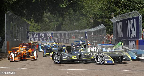 Nextev TCRs German driver Nelson Piquet JR drives during the final race of the 2015 FIA Formula E London ePrix championship at Battersea Park in...