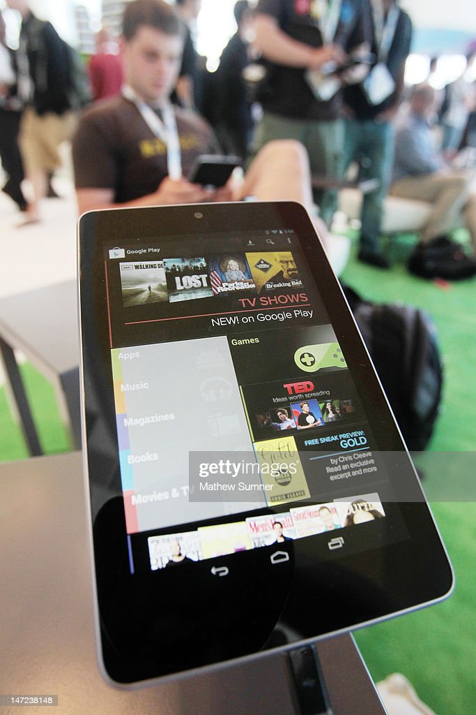 A Nexus 7 tablet is shown at the Google Developers Conference as developer Brad McManus tries out the new device on June 27, 2012 in San Francisco, California. The new Nexus 7 is Google's first tablet, utilizing a 7-inch screen, a Tegra 3 quad-core processor, and will launch next month for $199 running on the latest Android Jelly Bean OS.