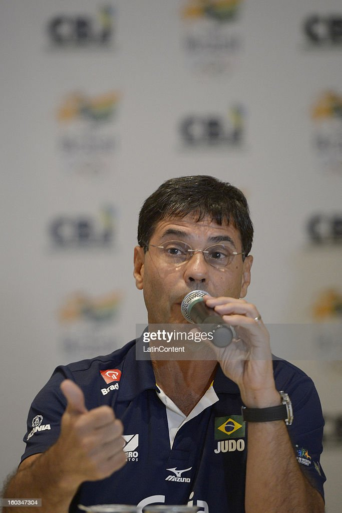 Ney Wilson talks during the first official training season of the team, who will represent Brazil in the Olympic Games Rio 2016, at Maria Lenk Aquatic Center on January 29, 2013 in Rio de Janeiro, Brazil.
