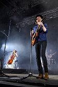 Neyla Pekarek and Wesley Keith Schultz of The Lumineers perform on stage at Jardines del Botanico in Madrid on June 27 2016 in Madrid Spain