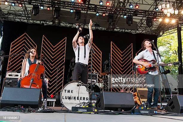 Neyla Pekarek on cello Jeremiah Fraites on drums and Wesley Schultz on guitar and vocals of the FolkRock band The Lumineers from Denver Colorado...