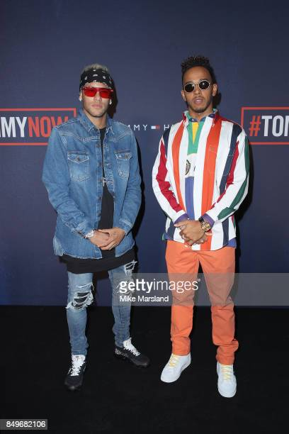 Neymar and Lewis Hamilton attend the Tommy Hilfiger TOMMYNOW Fall 2017 Show during London Fashion Week September 2017 at the Roundhouse on September...