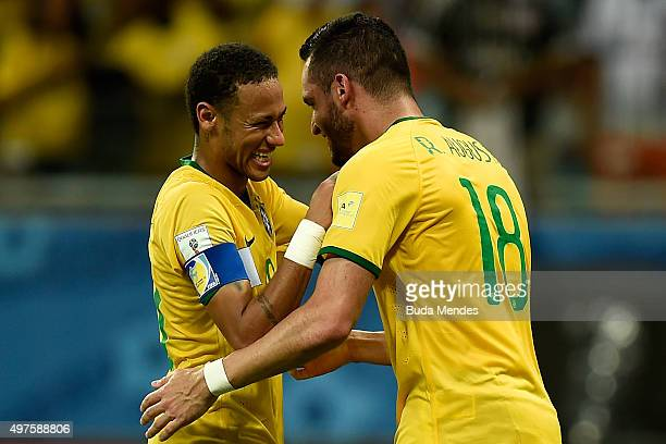 Neymar and Renato Augusto of Brazil celebrate a scored goal during a match between Brazil and Peru as part of 2018 FIFA World Cup Russia Qualifiers...