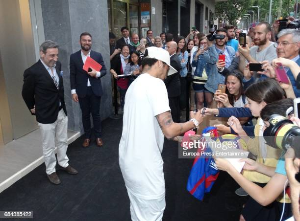 Neymar attends the opening of Sarkany Shoes Boutique on May 17 2017 in Barcelona Spain