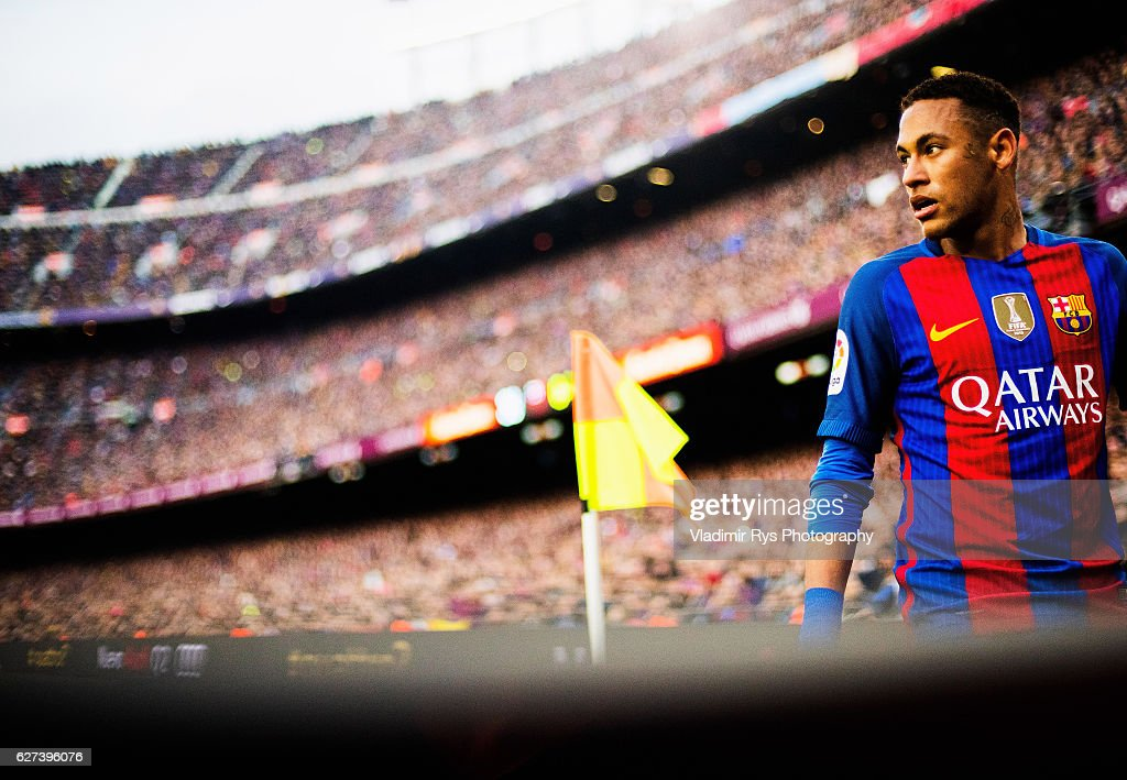 Neymar da Silva of Barcelona is pictured during the La Liga match between FC Barcelona and Real Madrid CF at Camp Nou stadium on December 03 2016 in...