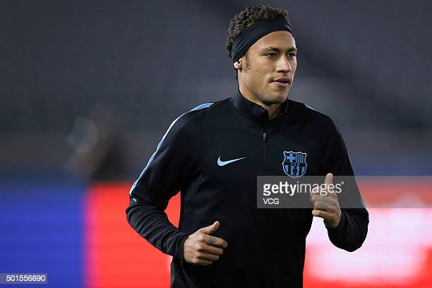 Neymar da Silva Santos Junior of Barcelona attends a team training session for the FIFA Club World Cup Japan 2015 football tournament on December 16...